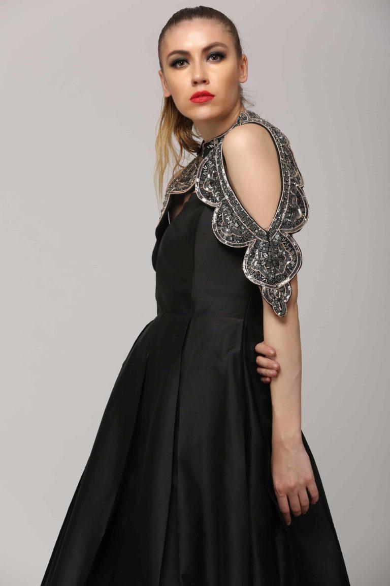 SAI 110 Black Tube Silk Gown