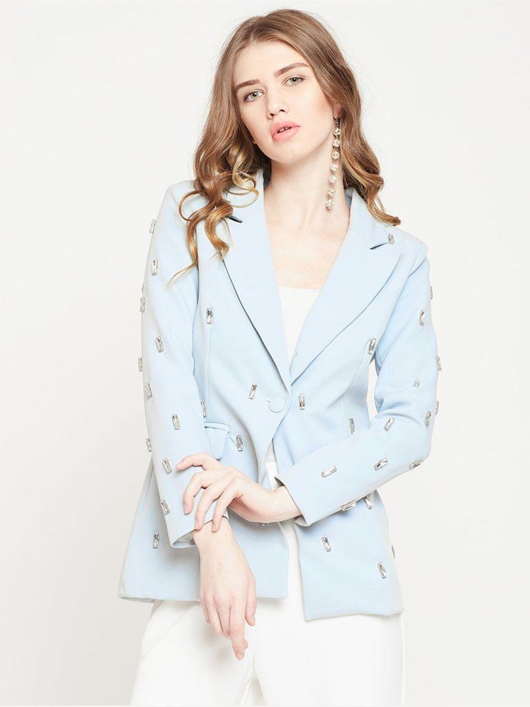 Blue Crystal Studded Blazer