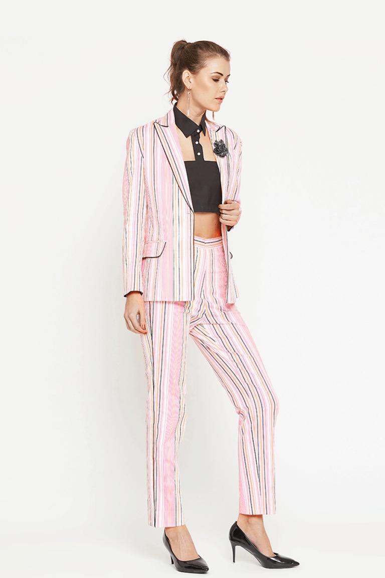 Pink Stripe Blazer Set
