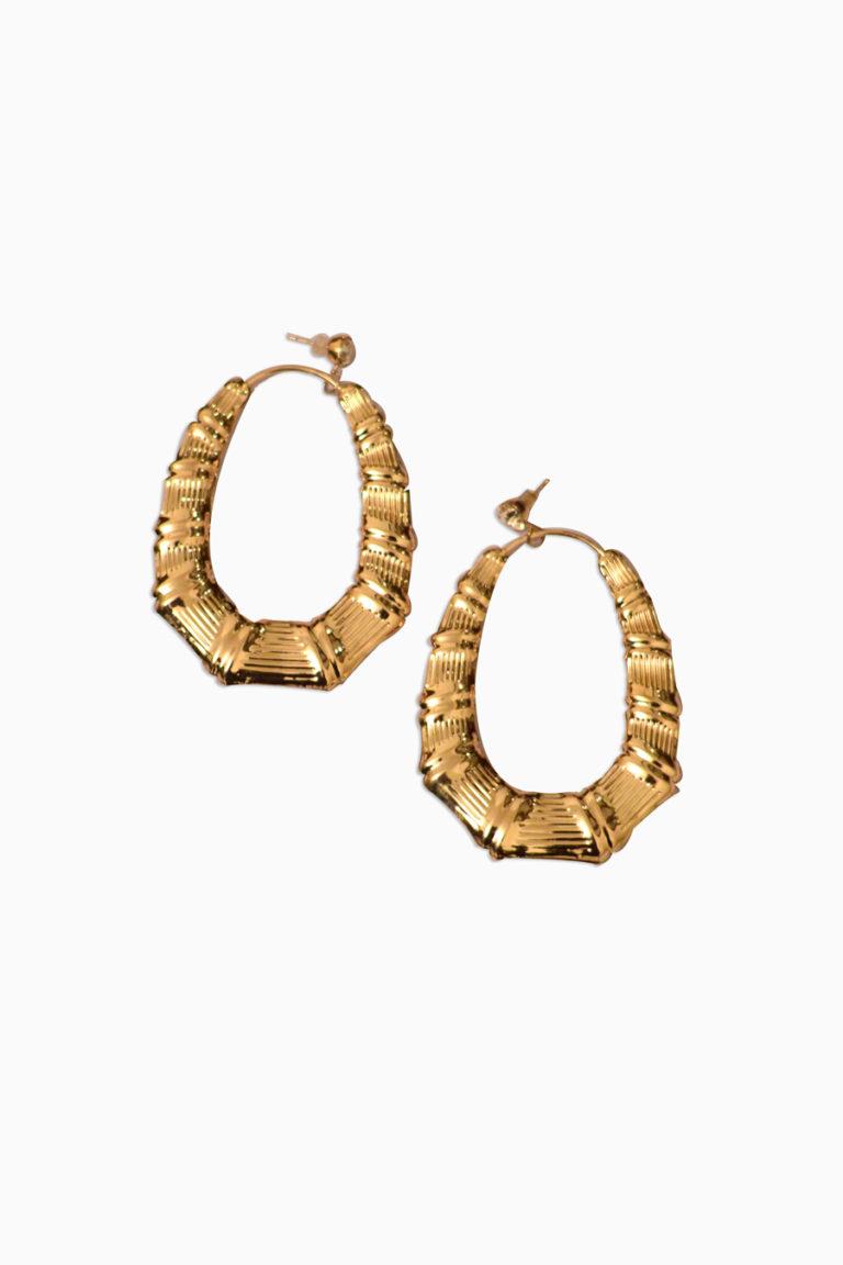 Golden Oval Earrings