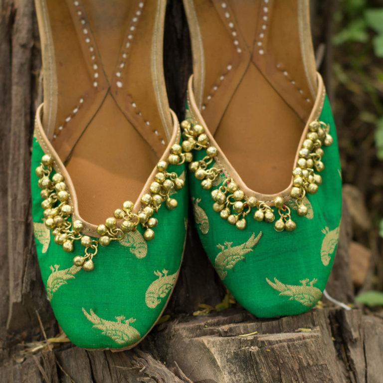 Green Embroidered Mojri