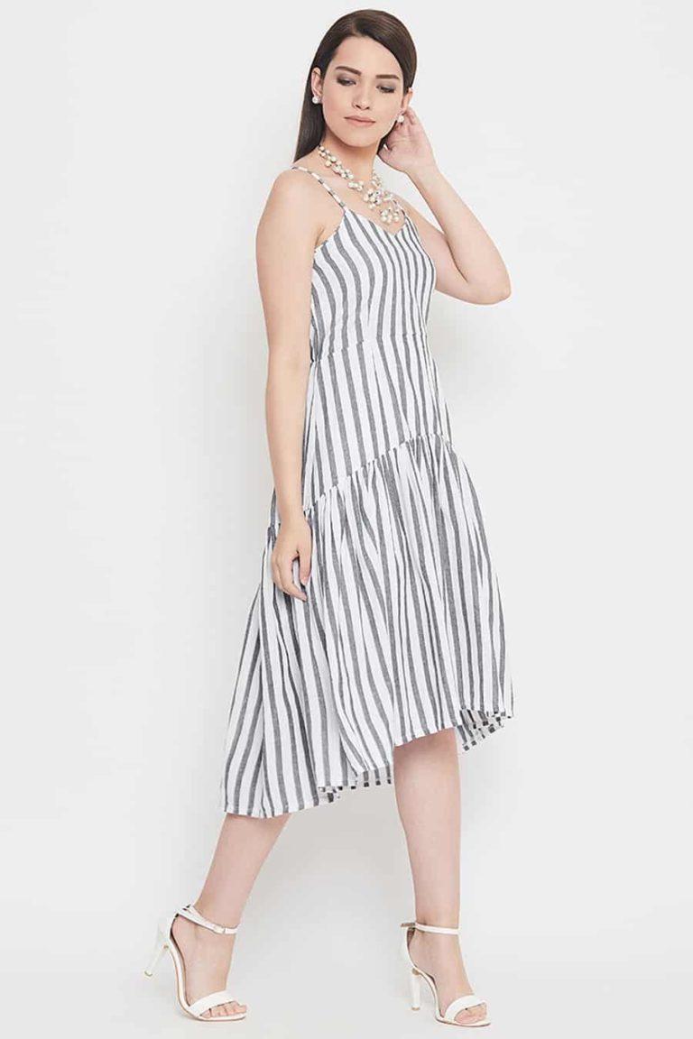 Grey and white stripe dress