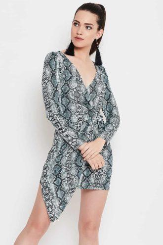 Grey snake print dress