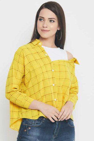 Mango yellow drop shoulder shirt