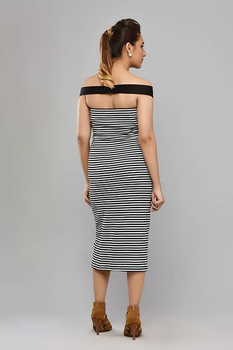 SAI 37 Off Shoulder Dress(Black & White)