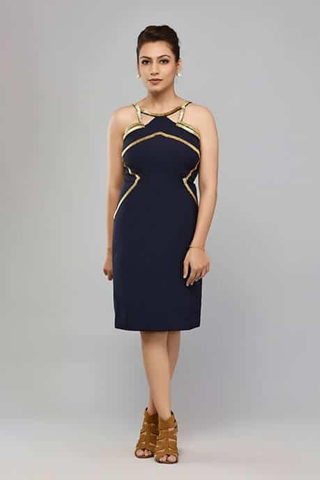 SAI 42 Navy Blue Halter Style Dress