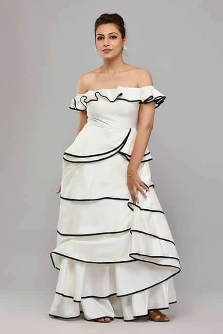 SAI 44 White Gown Layers Style