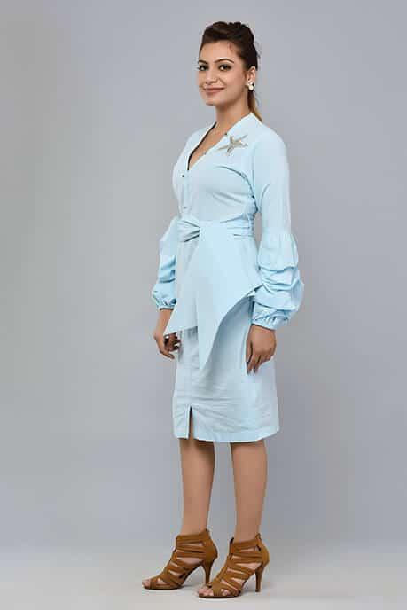 SAI 56 POWDER BLUE SHIRT STYLE DRESS