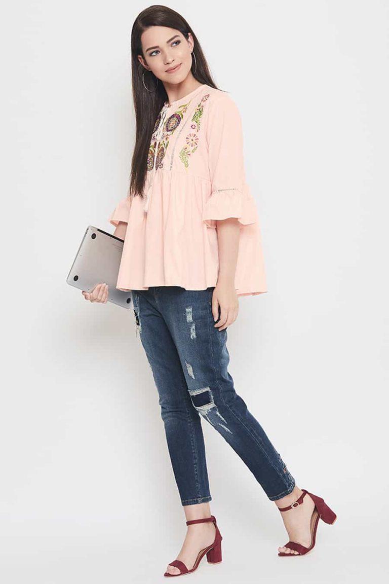 Pink boho top