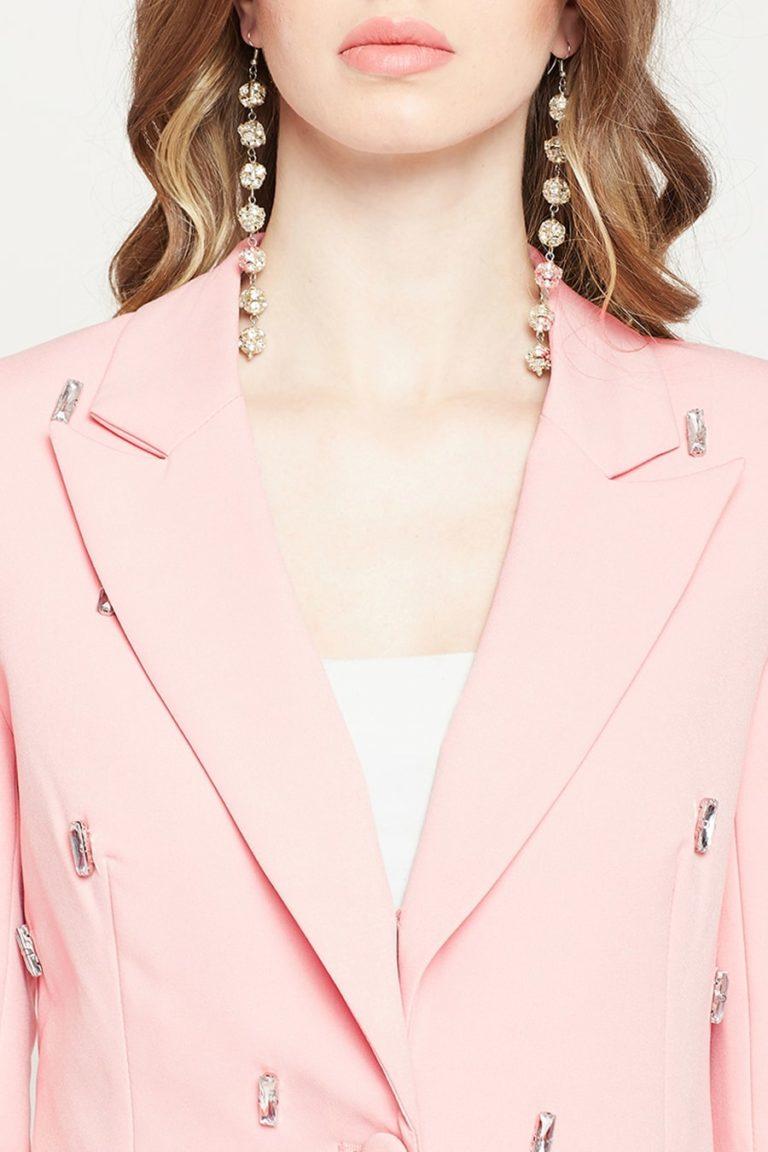 Pink Crystal Studded Blazer