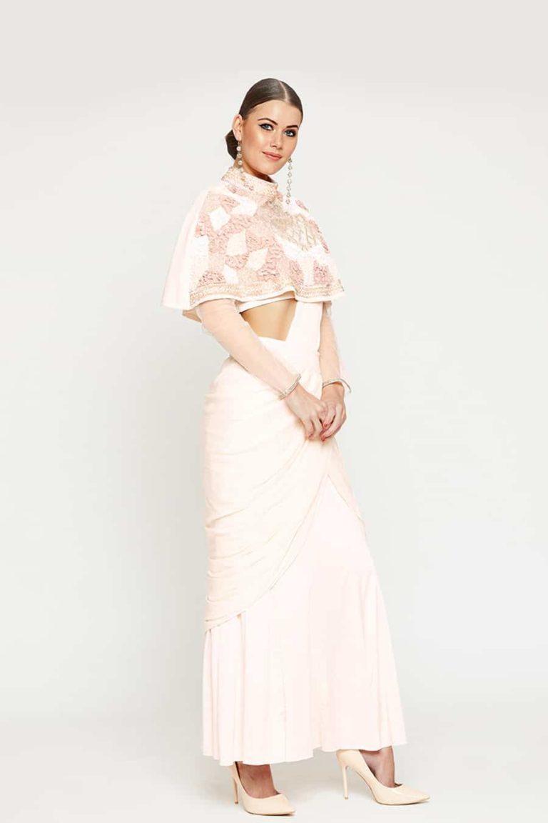 Sassy Peach Ponchu Saree