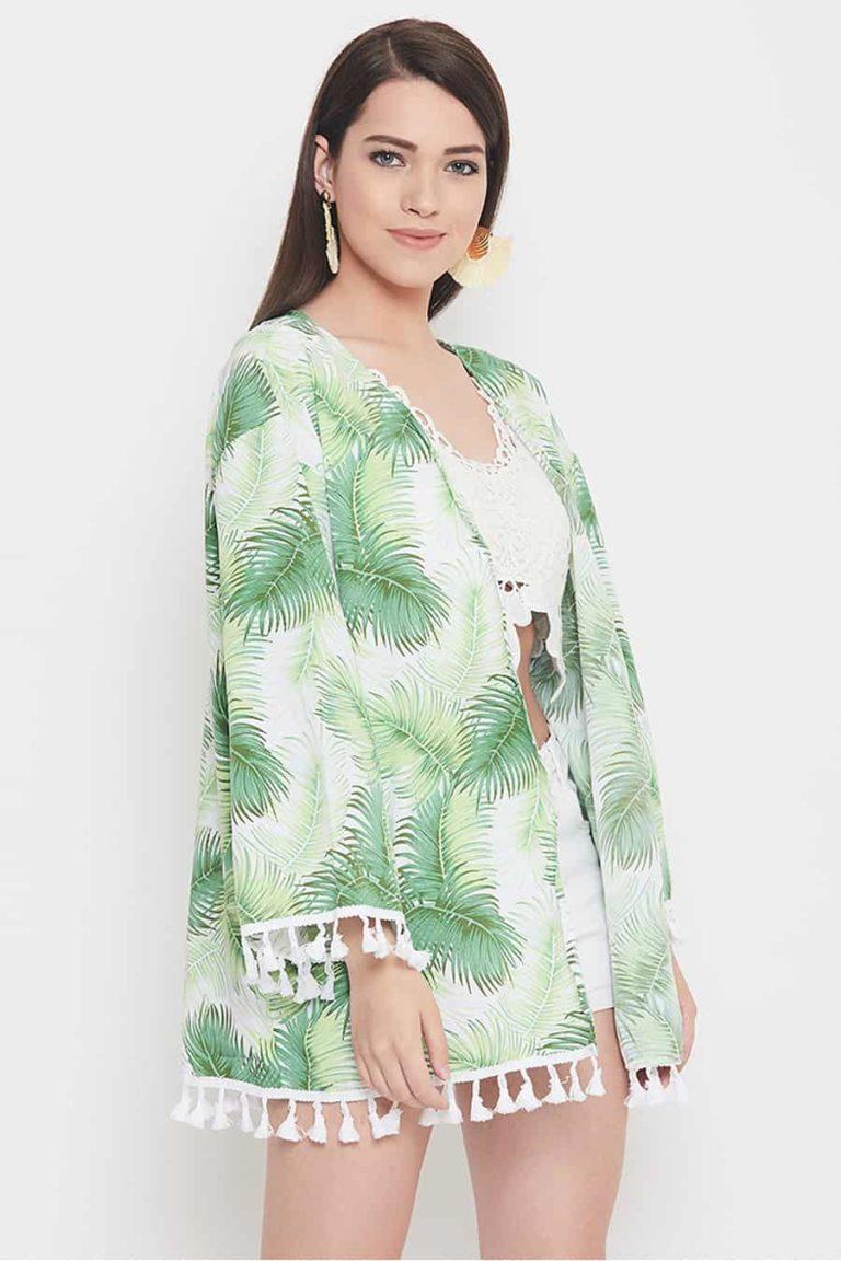 White base tropical kimono