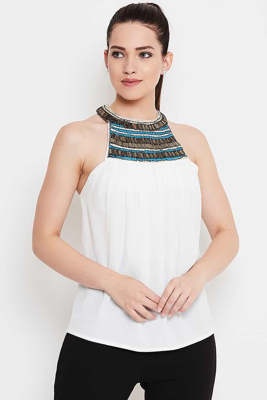 White halter neck top