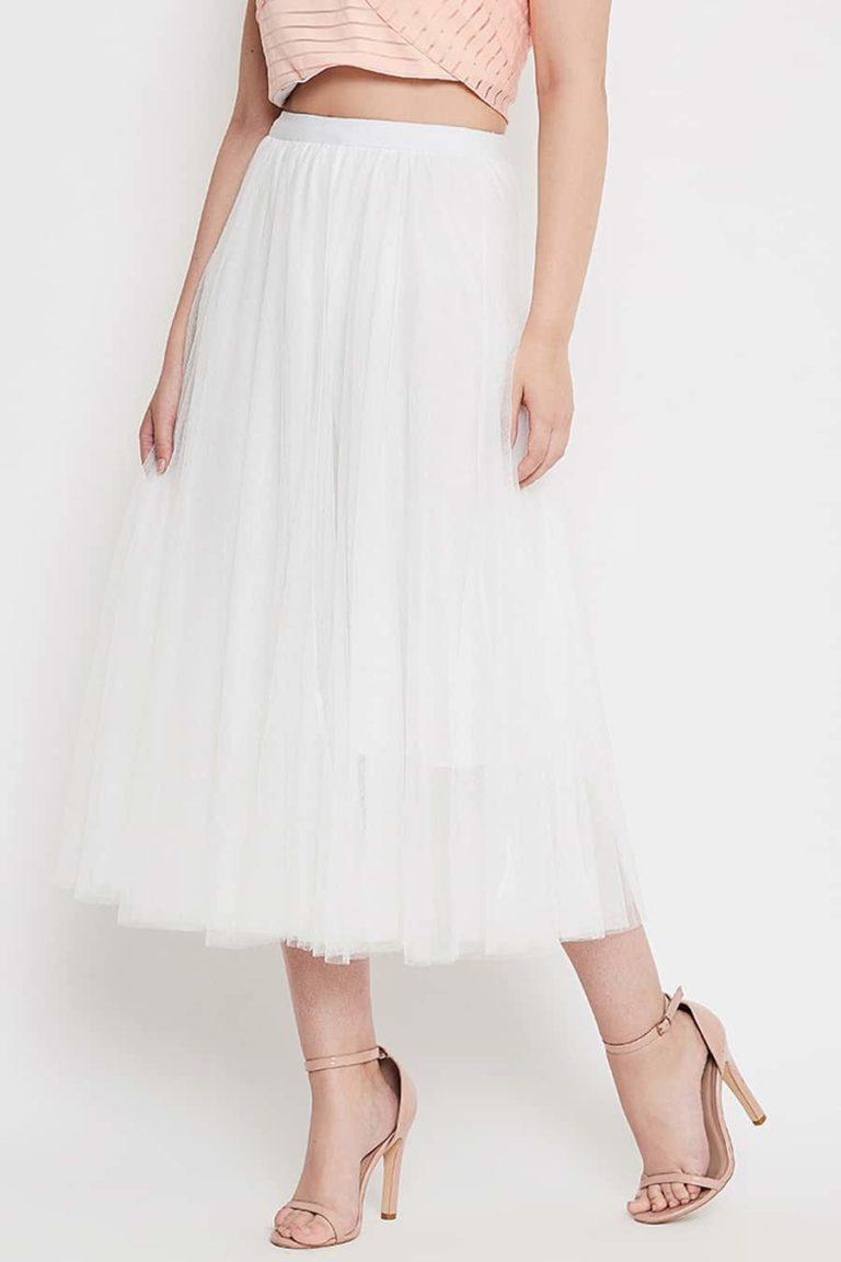 White net pleated skirt