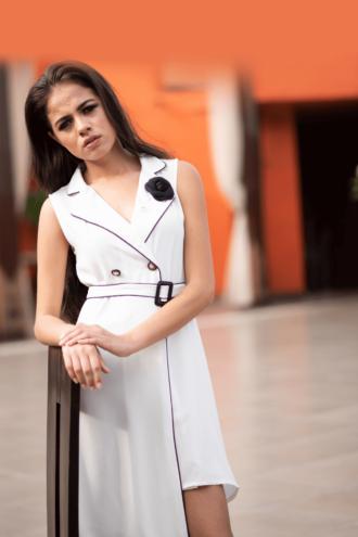 White Asymmetrical Blazer Dress