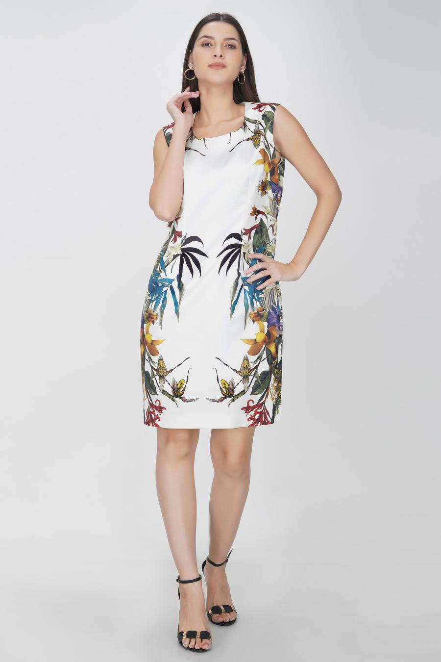 White printed knee length dress