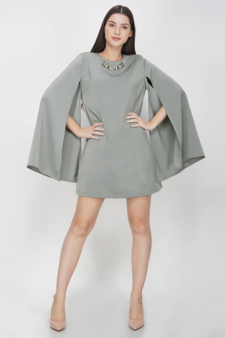 Buy Light Grey Slit Sleeves Dress Online