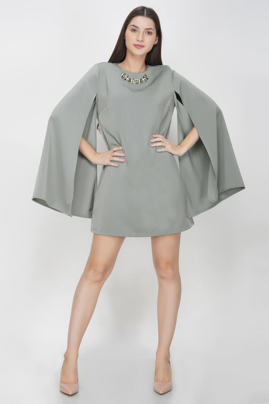 Light Grey Slit Sleeves Dress