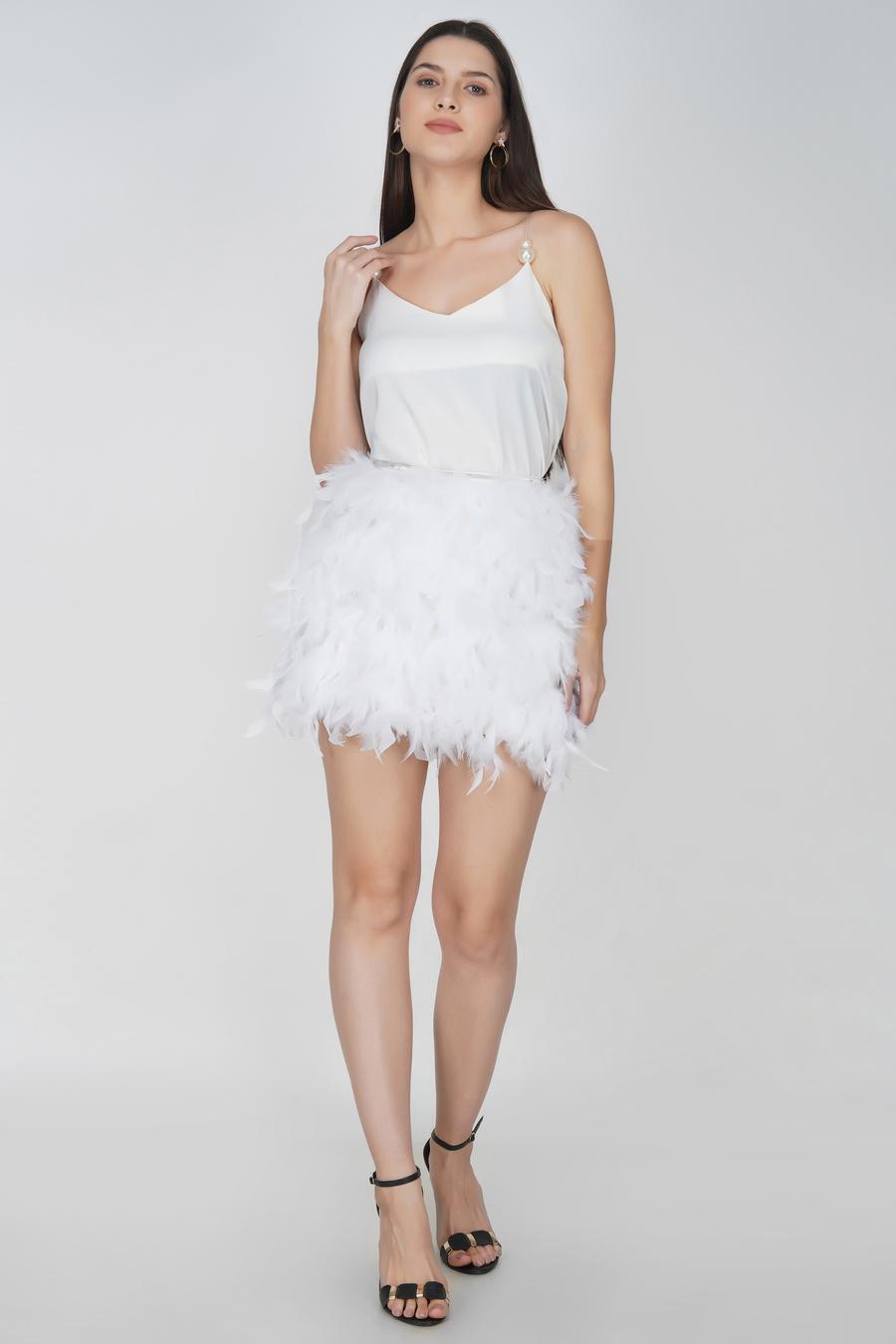 White feather mini skirt