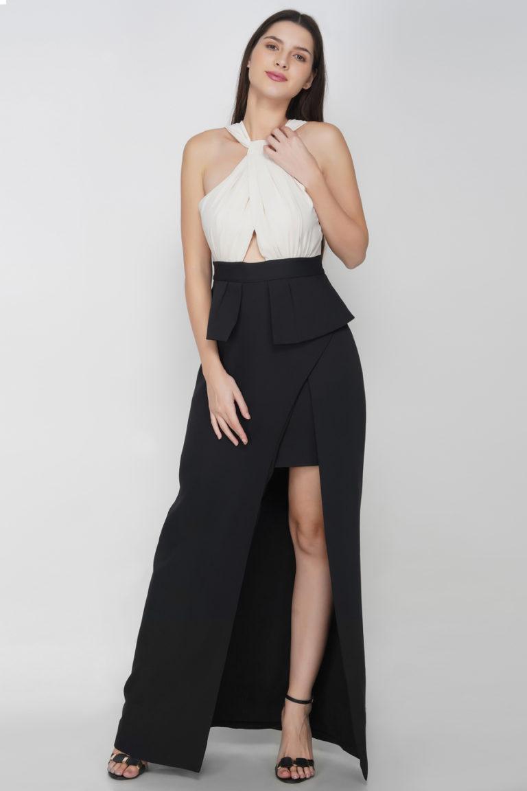 Buy Cross Halter Neck Slit Dress Online in India