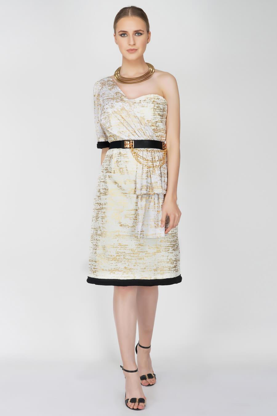 Foil Printed One-shoulder Sheath Dress