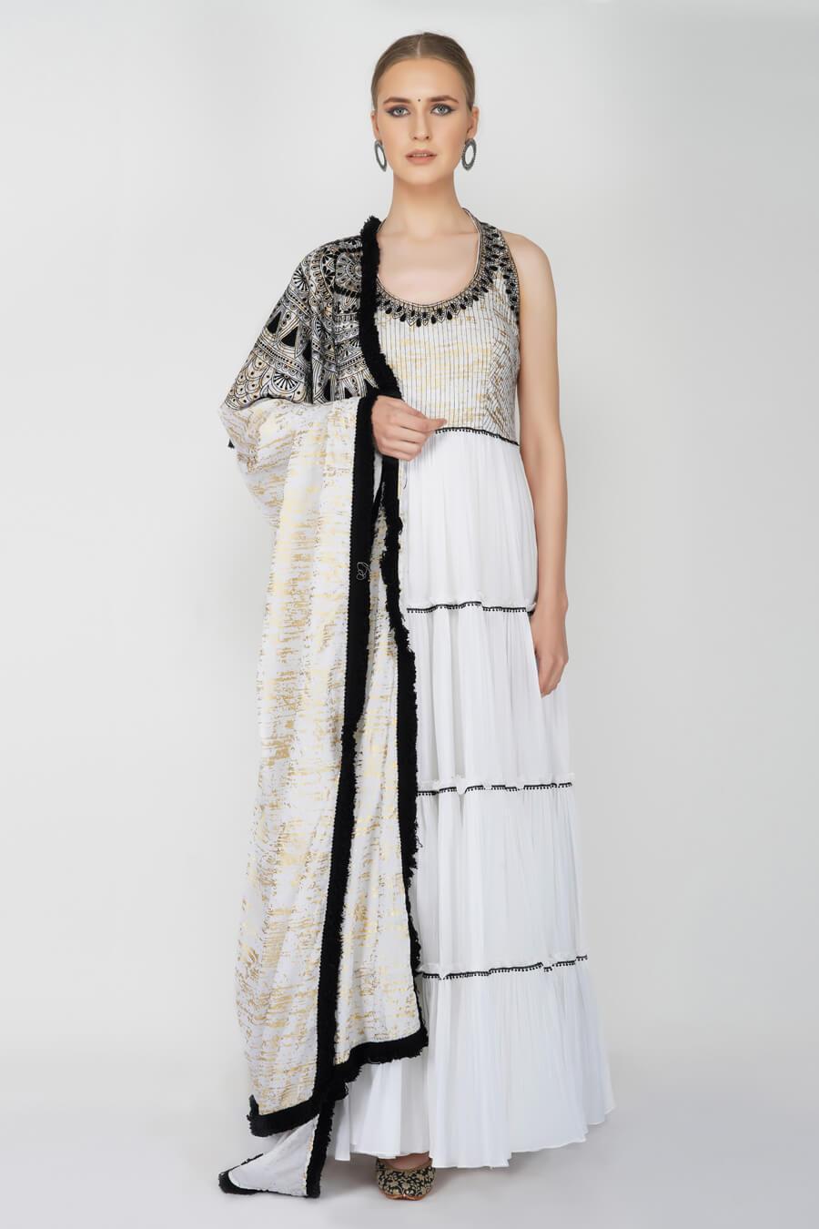 White Crinkled Anarkali Suit