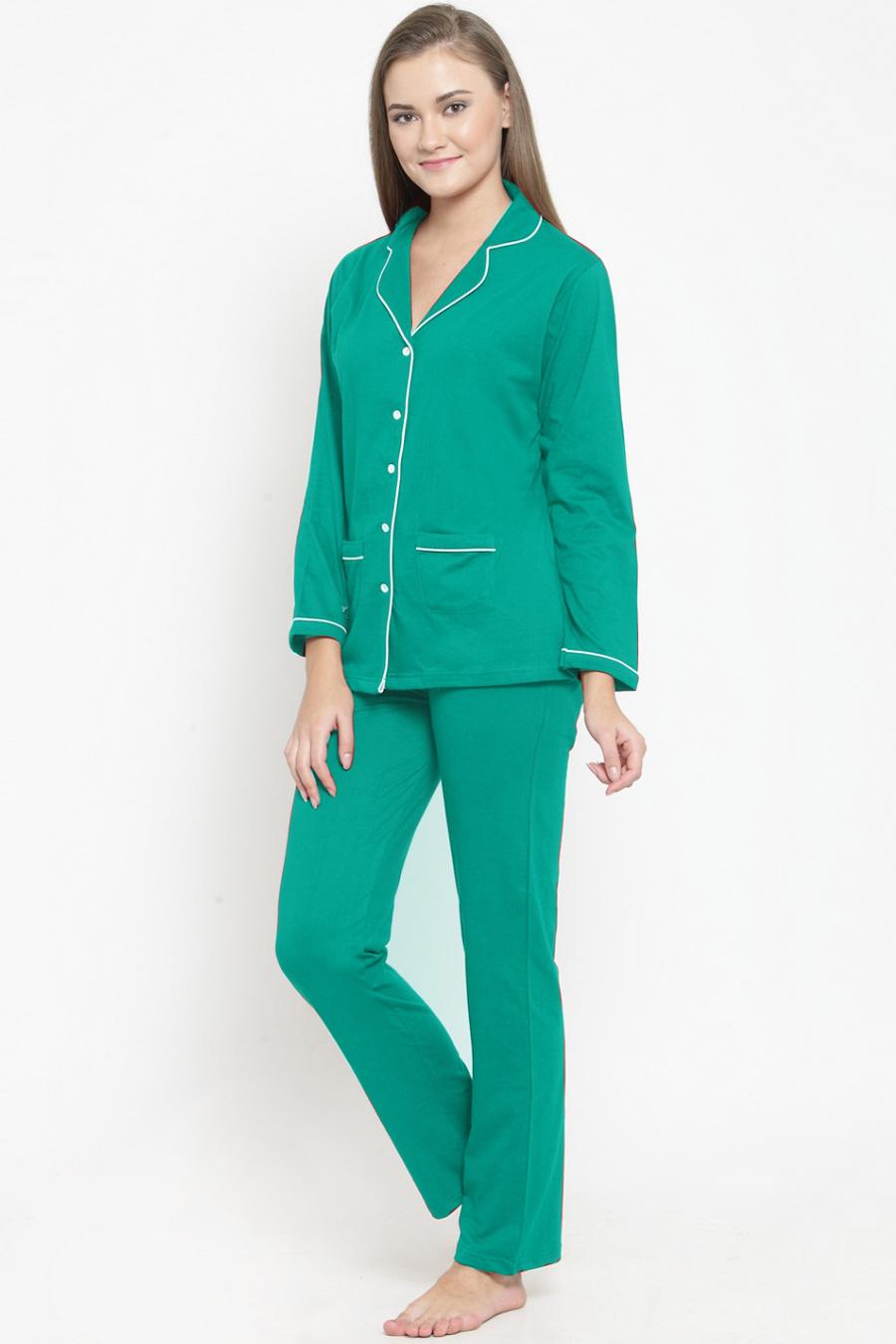 Green Cotton Night Suit Set