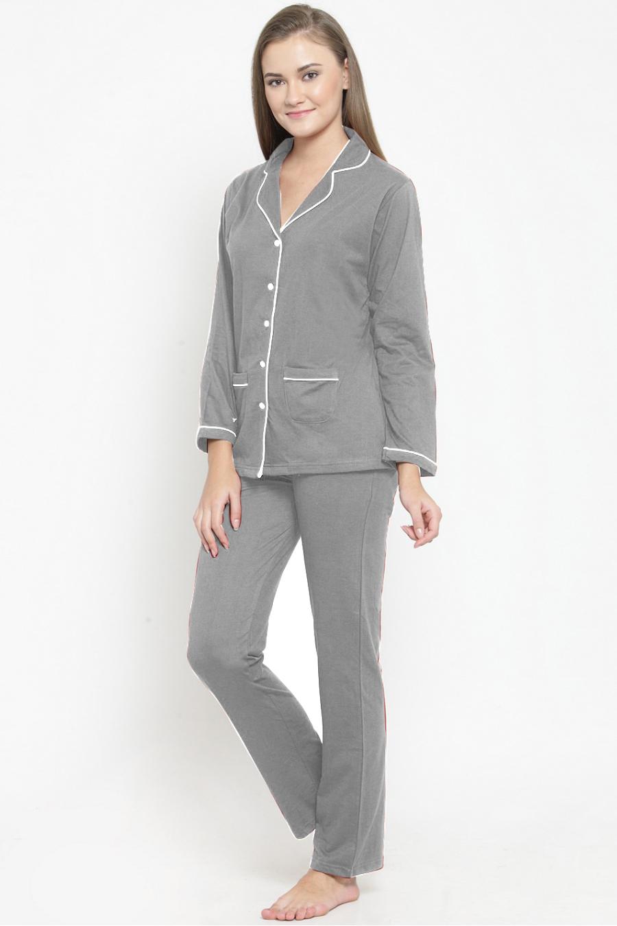 Grey Night Suit Set