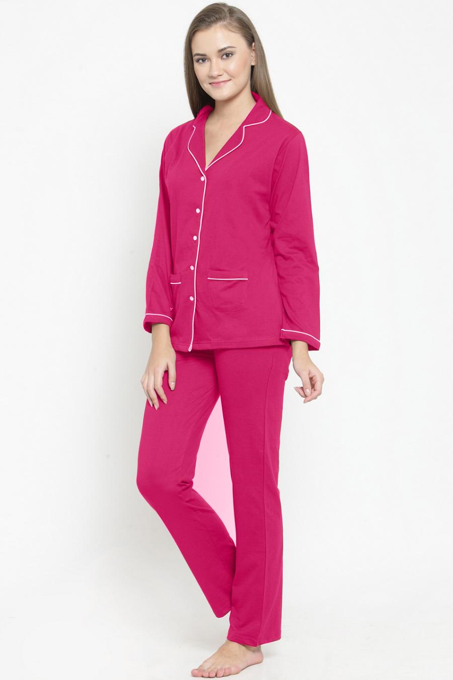 Fuchsia Cotton Night Suit Set