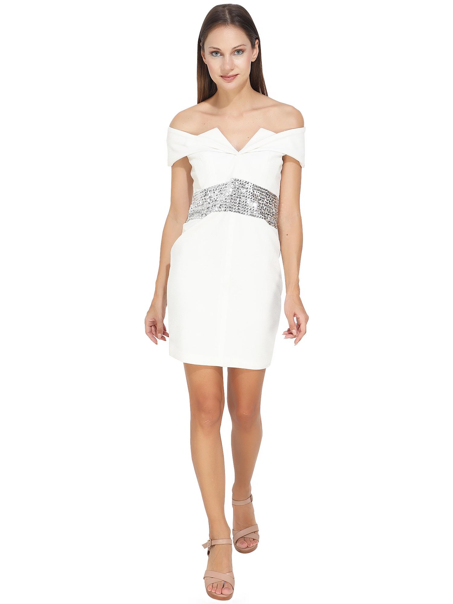 SelF Embossed White Lycra Dress