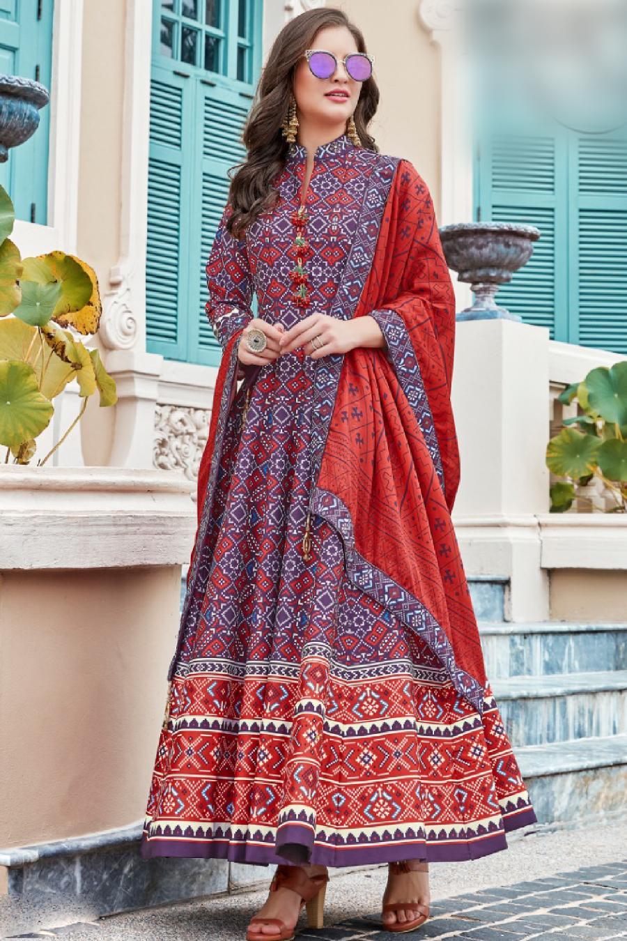Voilet Multi Color Patola Anarkali Suit