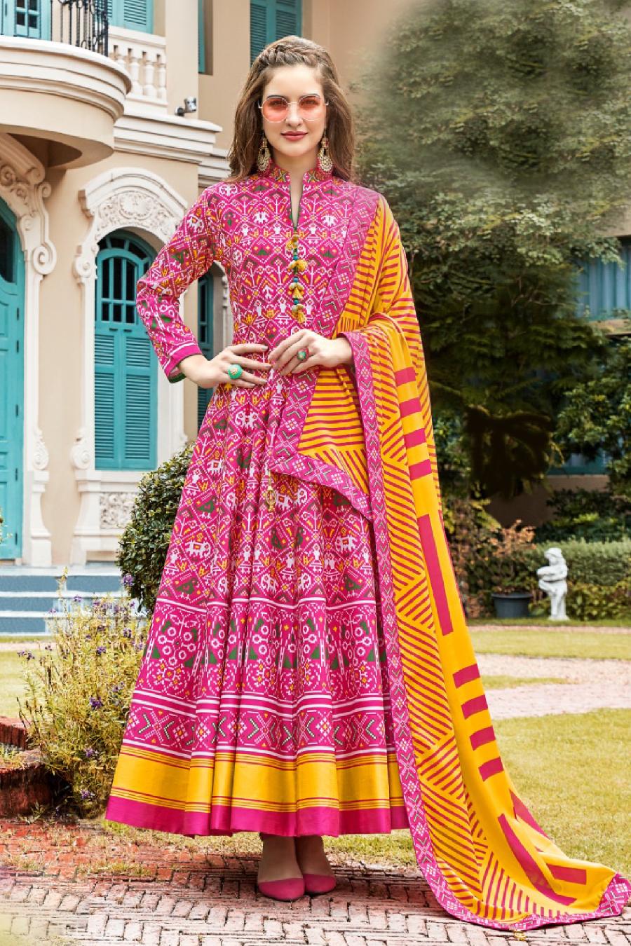 Pink Patola Anarkali suit