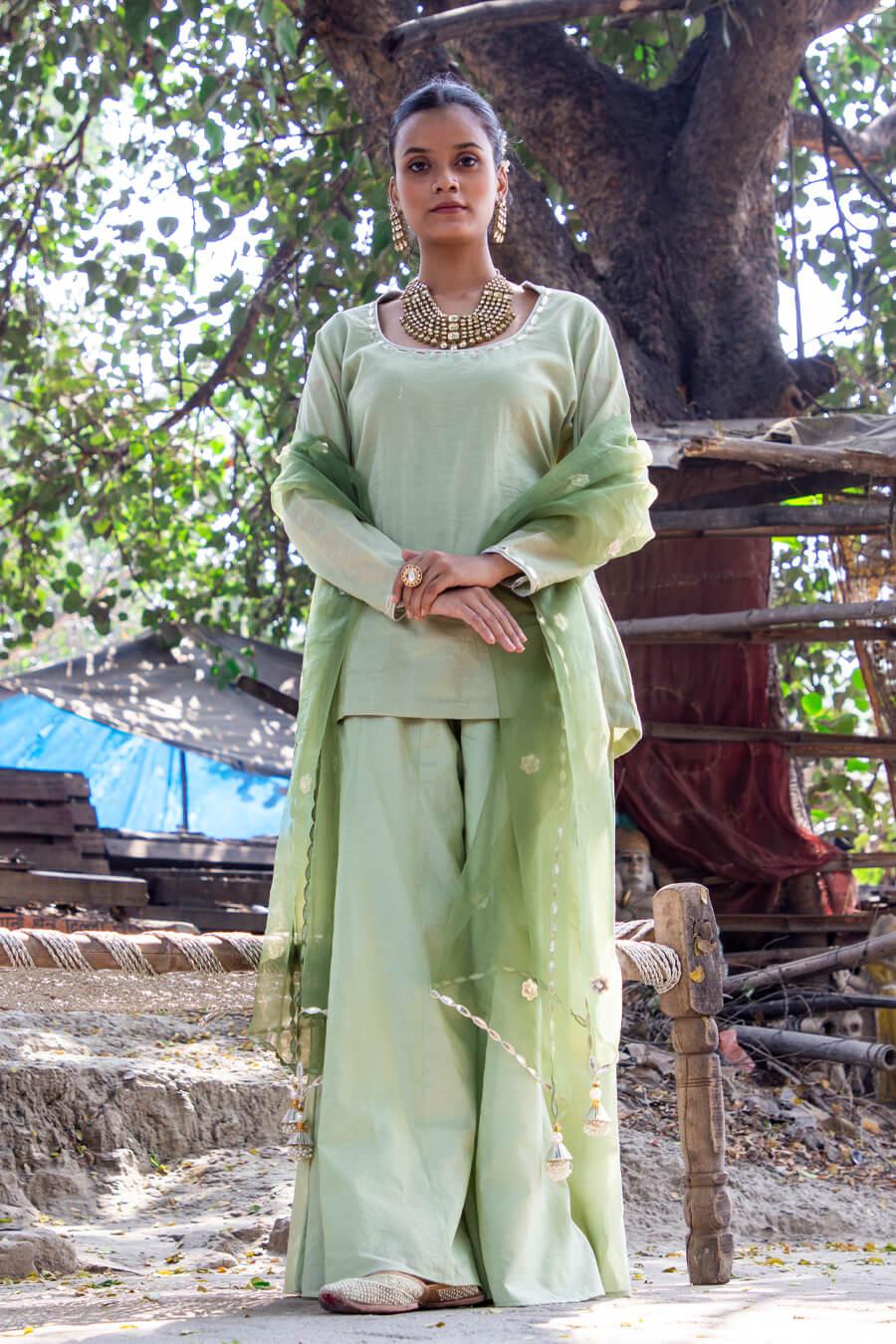 Pistachio Green Backless Kalidar Sharara Suit