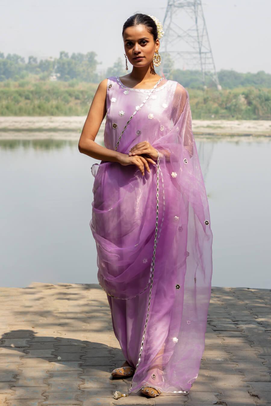 Pastel Lilac Saree Drape Gown