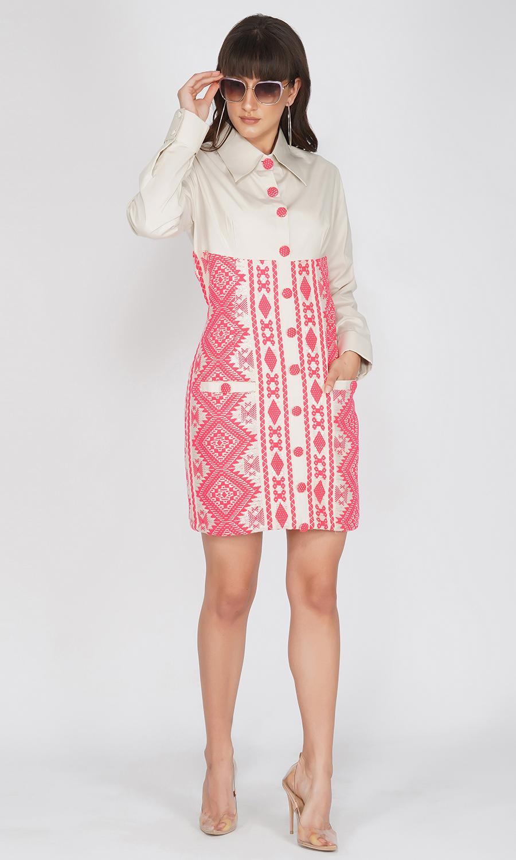 Mini Shirt Dress with Neon Detaling