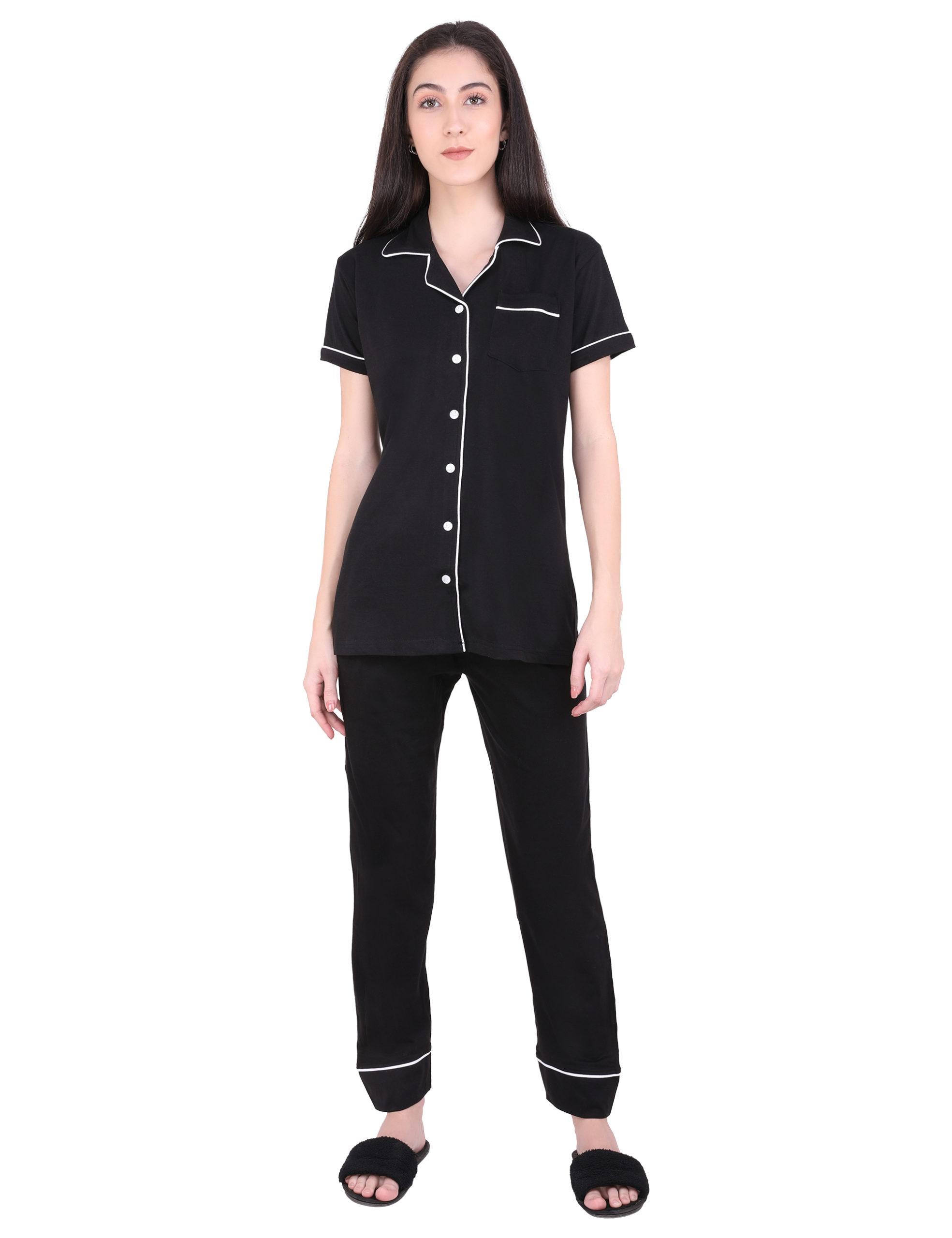 Solid Black Pajama Night Suit Set