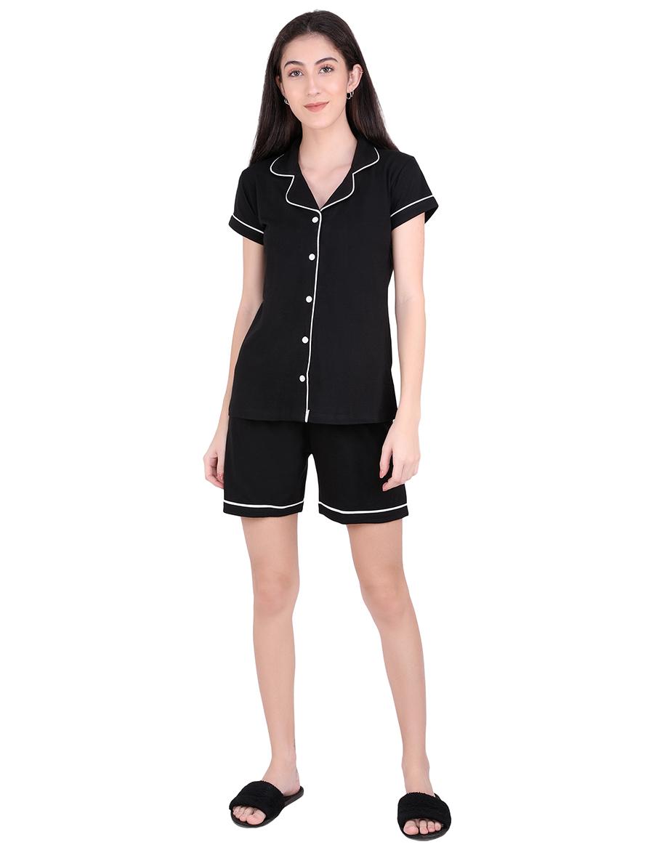 Solid Black Stylist Night Suit Set