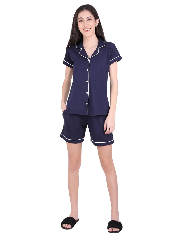 Solid Navy Blue Stylist Night Suit Set
