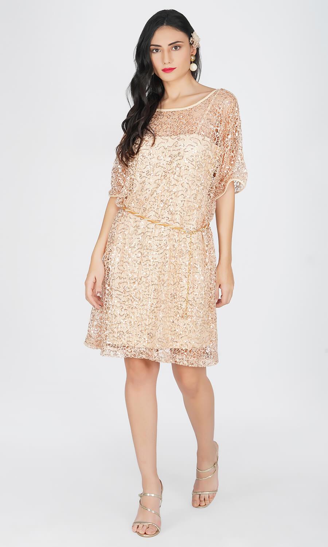Kovet Over Sized Beige Crochet Dress