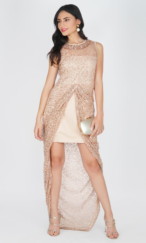 Kovet Beige Crochet Maxi Dress