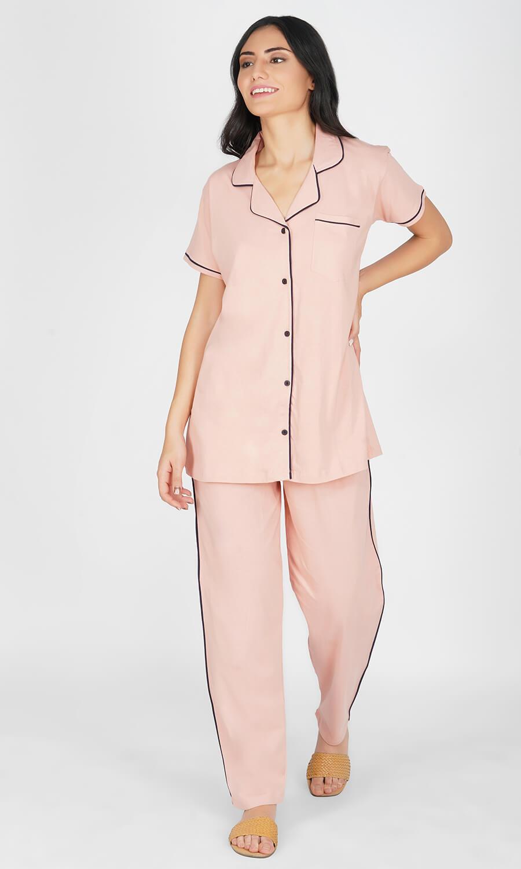 Solid Pink Pajama Night Suit Set
