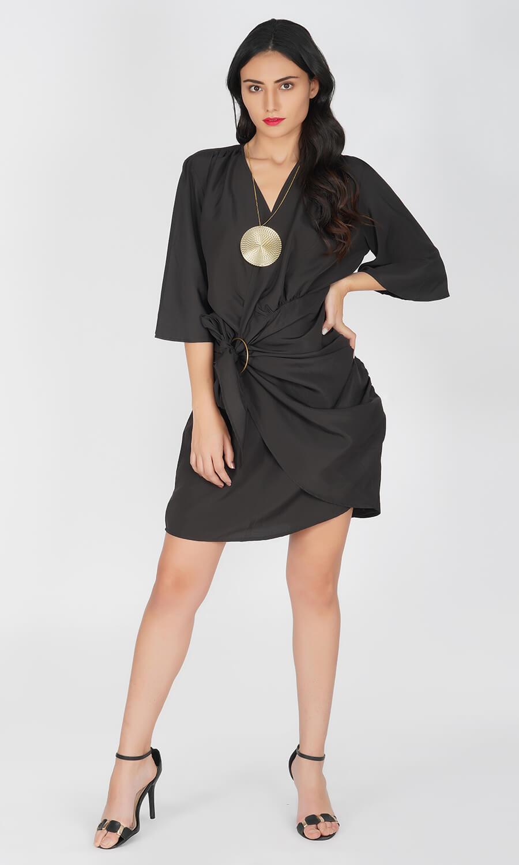 Kovet Black Wrap-Around Dress